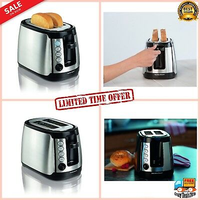 Keep Warm  2-Slice Slots Automatic Sandwich Toaster stainless steel sides