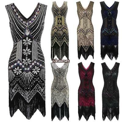1920s Various Fashion Style Beaded Sequined Deco Fringe Flapper Gatsby Dress