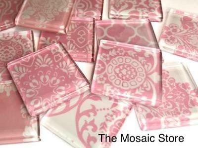 Soft Pink Damask Patterned Glass Tiles 2.5cm - Mosaic Tiles Supplies Art Craft