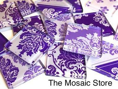 Purple Damask Patterned Glass Tiles 2.5cm - Mosaic Tiles Supplies Art Craft