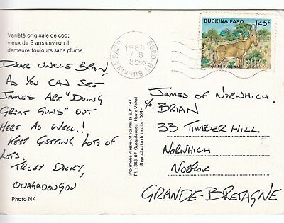 Q 2340  Burkina Faso Aug 1989 postcard to UK; 145f rate