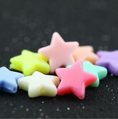 100X Candy colors Acrylic Star Beads DIY Pacifier chain Jewelry Accessories 14mm