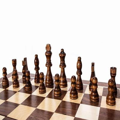 Classic Folding Wooden Chess Set Chess Board Game and Draughts Set T