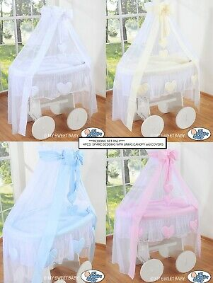 Amelie 4Pcs Baby Wicker Crib Moses Basket Spare Bedding With Lining & Canopy