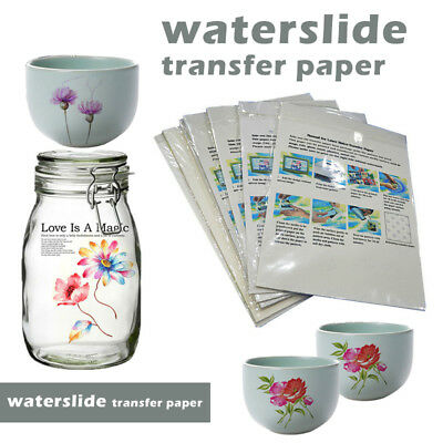40x WATERSLIDE TRANSFER PAPER INKJET CLEAR WATER SLIDE PRINTING PAPER
