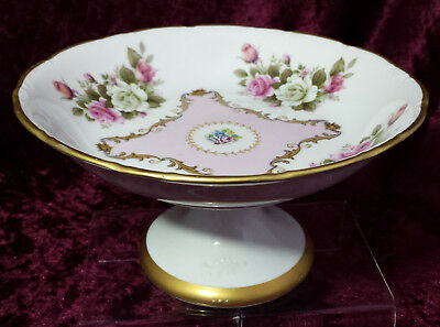 Exquisite Limoges Porcelain Pedestal Comport / Tazza Hand Painted & Gilded
