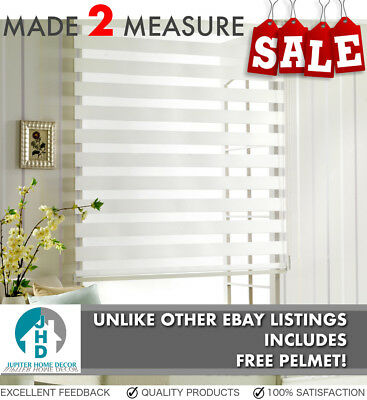 Sale! - Made To Measure White  Zebra / Vision Blinds  /  Day & Night - Free Post