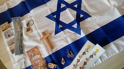12 pc Christian Souvenir Israel Flag Crucifix Glass Bead Earrings Shell Necklace