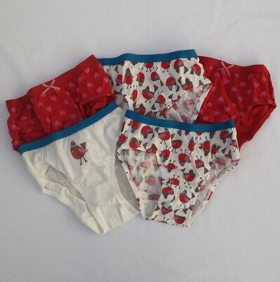M+S 5 Pack Girls Pants Briefs Red Mix Robin Heart Age 2 3 4 5 6 7 8 9 10 Years