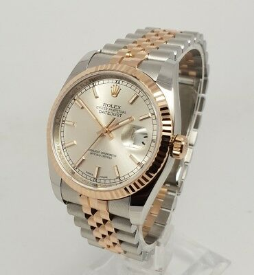 Rolex Datejust 116231 Mens 36mm 18K Everose Gold & Steel Watch Silver Dial B&Ps