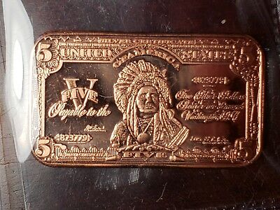 1 Oz. Old $5 Indian Chief Design Copper Bar .999 Fine Copper