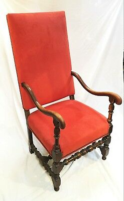 17th c. Period Continental Walnut Upholstered Armchair
