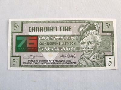 VINTAGE CANADIAN TIRE 1922-1997 75 th YEARS MONEY 5 CENTS NOTE  # 7513994904