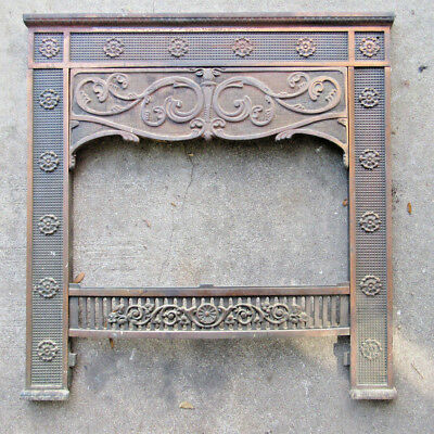 Vintage Architectural Cast Iron Fireplace Surround Frame, Ornate Salvage
