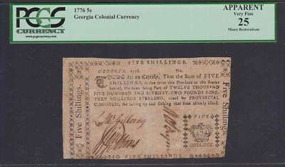 "Very scarce GA-66b  ""Royal Crown""  PCGS VF25  5s  1776 Georgia Colonial Note"