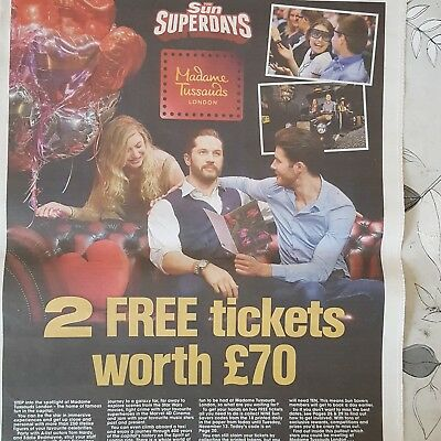 2 x MADAME TUSSAUDS tickets  booking form + All 10 tokens
