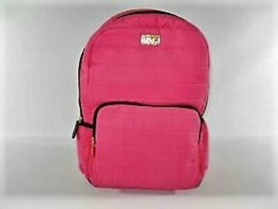 Betsey Johnson Quilted Nylon Hot Pink Large Backpack with Bonus Pouch