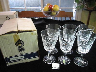 """6 Waterford Lismore Water Goblets W/older  Box, 6 7/8""""h, Excellent Condition."""