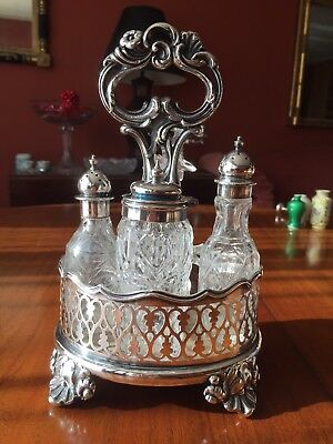 COMPLETE MATCHING c1800 OLD SHEFFIELD PLATE CUT GLASS CONDIMENT CRUET SET