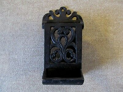 Vintage Decorative Cast Iron Wall Mount Match Box Holder~Good Condition