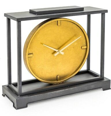 Large Industrial Style Iron Mantle Clock With Gold Face 39 cm High x 45 cm Wide