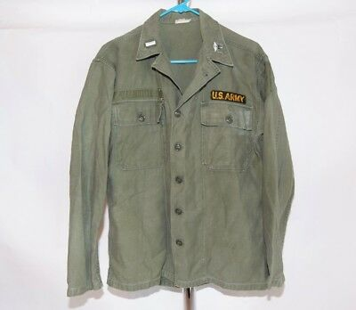 Vtg 50s 60s US Army Type 1 Sateen Fatigue Utility Shirt 1LT MS insignia S