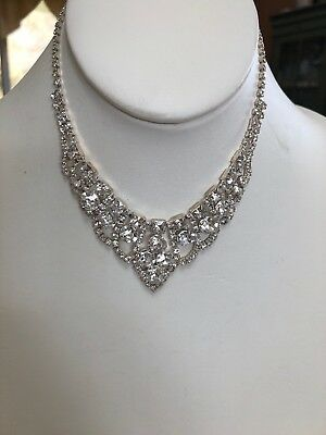 Rhinestone Flower Girl Necklace 12 Inches Glass Crystal Silver