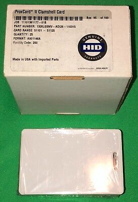 HID 1326 ProxCard II Access Control Cards 26-Bit 125 kHz 25 Pack 1326LGSMV NEW!
