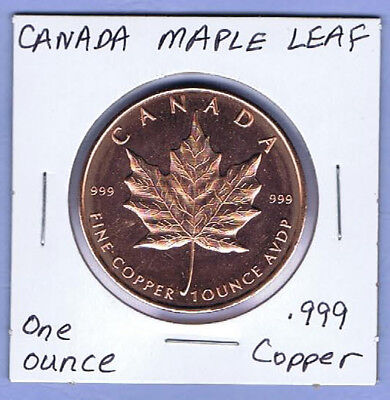 CANADA MAPLE LEAF - 1 ounce .999 Copper Coin