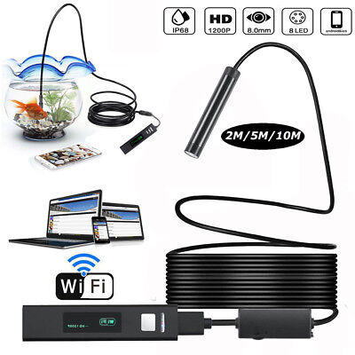 8LED Wireless Endoscope WiFi USB Borescope Inspection HD 1200P Camera For iPhone