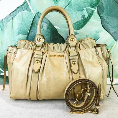8574b3f60711  840 MIU MIU Vitello Lux Ivory Leather Satchel Bag Medium Ring Gold HW  SALE! EUC