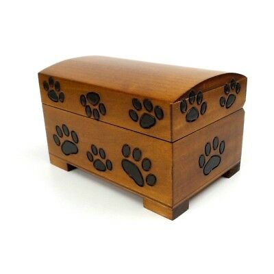 Pet Urn Paw Print Wood Box Cat Dog Cremation Ashes Wood Chest Small Memorial Box