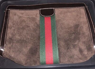6f21bfd00bc6f1 GUCCI Parfums Clutch Suede Leather Brown Cosmetic Bag Vintage Auth Perfume  Purse