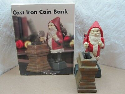 "Vintage Santa Cast Iron Metal Toy Bank 6"" Tall 4"" Wide"