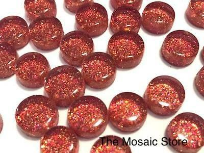 Red Glitter Glass Dots / Circle / Round Tiles - Mosaic Supplies Craft