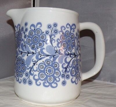 Vintage Large Blue & White Floral Pitcher ARABIA Finland ORRI Pattern