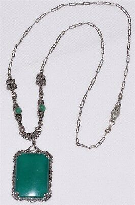 Antique Art Deco Decorative Chain & Green Glass Pendant