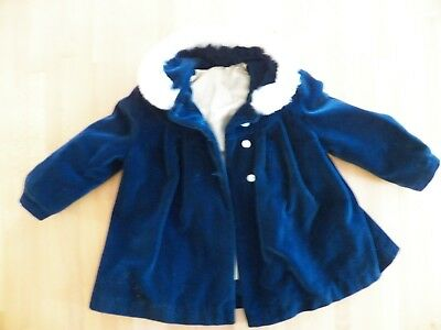 Vintage Lined Blue Velvet Baby Coat and Snowpants Good Condition