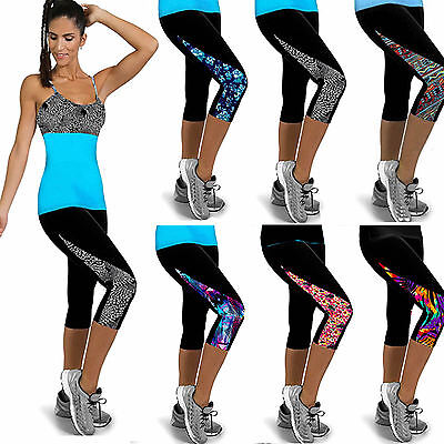 Womens Sports Yoga Fitness Capri Leggings Gym 3/4 Pants Floral Cropped Trousers
