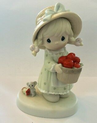 Precious Moments Figurine-  Happiness To The Core  (Girl /apple Basket  / Fall)