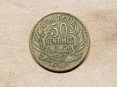1921 French Tunisia 50 Centimes Colonial Coin Tunisian 1/2 Franc VERY NICE