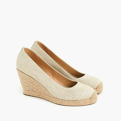 ec358798f3eb J Crew New in Box - Seville Espadrille Wedges Size 10 - Metallic Gold