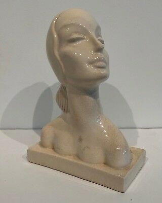 Vintage c. 1930s Art Deco AMACO American Art Pottery Bust in White 7.5""