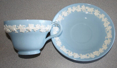 Wedgwood Queensware Embossed Smooth - Cream on Lavender Blue - Cup & Saucer