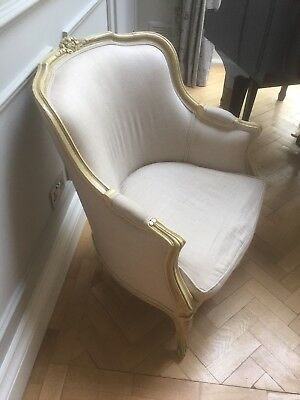 UPDATE - THREE French Louis style Shabby Chic Cream Chairs / cream wooden frame