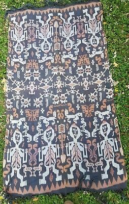 "Vintage Sumba Ikat hinggi hand woven traditional tapestry Indonesia 43"" by 78"""