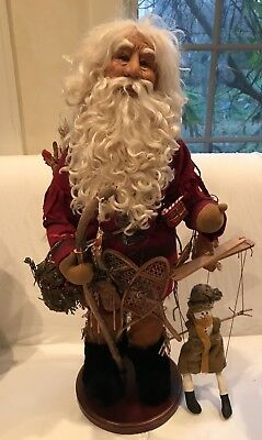 "Original 1995 Judith S. Klawitter ""Mountain Man Santa"" Handmade Sculpture 27"""