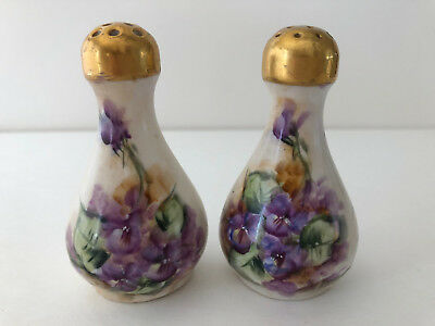 Antique Royal Austria O&EG Salt Pepper Shakers Hand Painted Violets Artist Sign