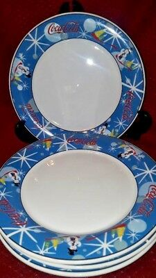 Coke Coca-Cola Christmas Dinner Plates Laughing Snowman (set of 4)
