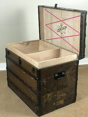 Louis Vuitton Antique 1800's Steamer Trunk with Two Tray Inserts Trianon Canvas